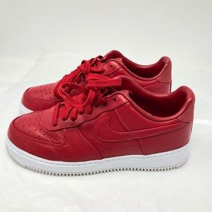Nike Air Red Leather low Tennis Shoes Sz 8
